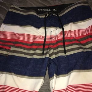 Men's board shorts red, white and blue